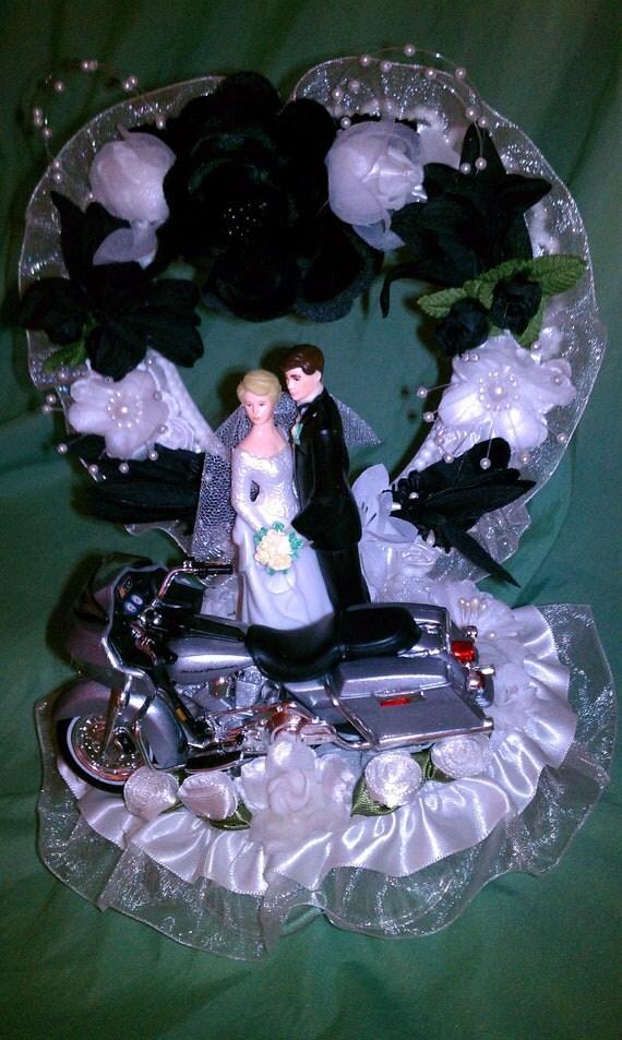 Motorcycle Wedding Cake Topper Harley Davidson Silver 2002