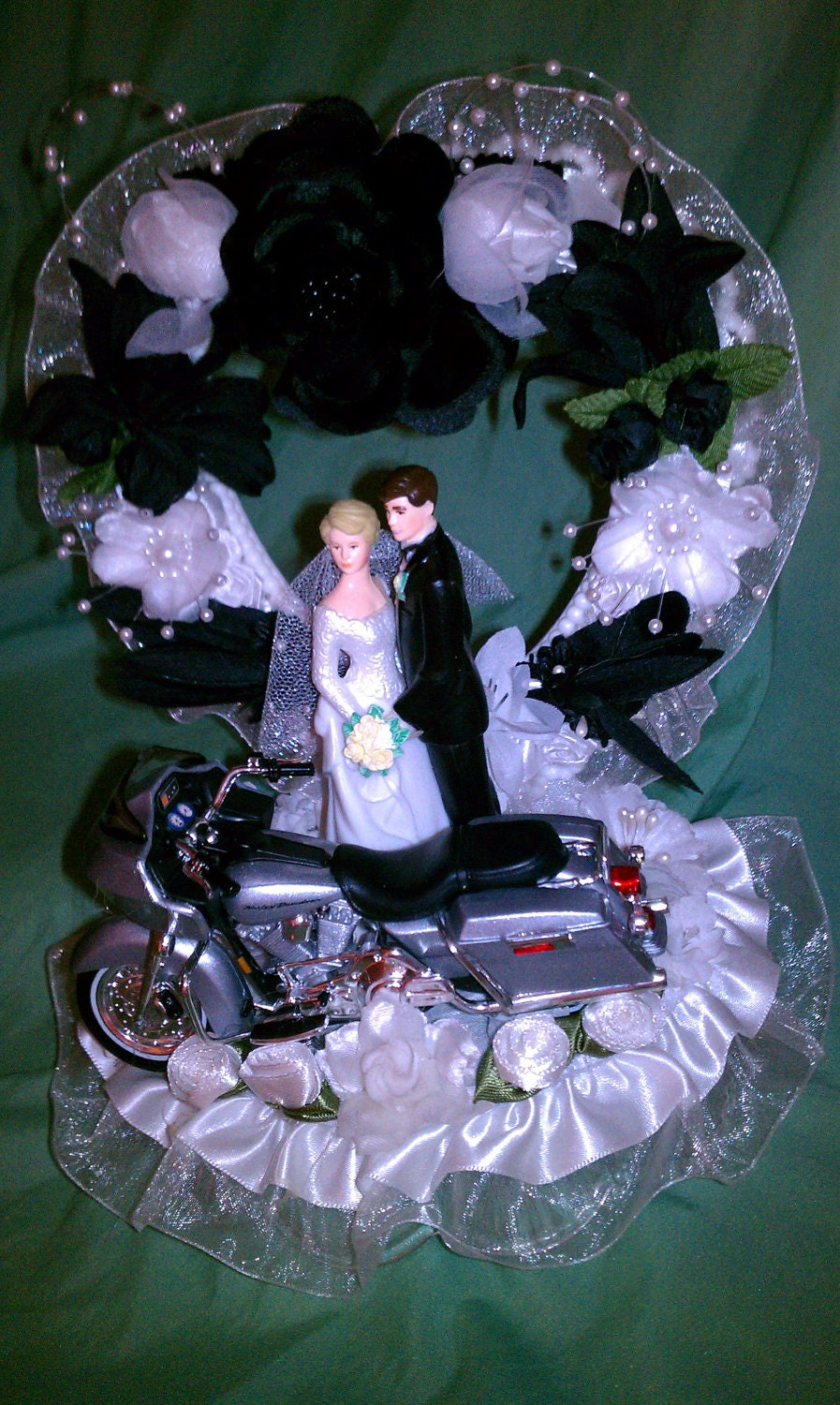 Motorcycle Wedding Cake Topper Harley Davidson Silver 2002