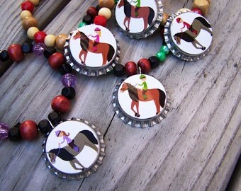 Girls Teen Equestrian Gold Cup Pony Horse Show Awards Club Pony Birthday Party Favor Bracelet 6pk