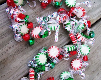 Slipover Birthday Girl Game Prize Gift Shower Candy Necklace in Christmas Holiday Spearmint Peppermints Mints