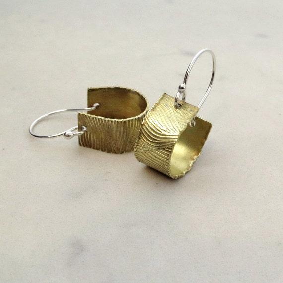 hoop earrings, brass, sterling silver