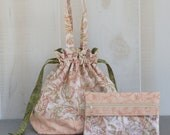 Sock Knitting Bag Peach and Green with Zippered Accessory Bag
