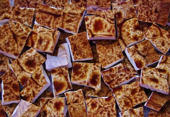 Mosaic Tiles---BROWN FOSSIL  --- 100 TILES