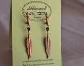 Large Feather Earrings with Striped Beads part of Westwood Warrior School Spirit Jewelry Collection
