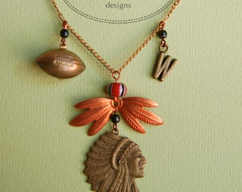 Warrior Necklace with Football part of Westwood Warrior School Spirit Jewelry Collection