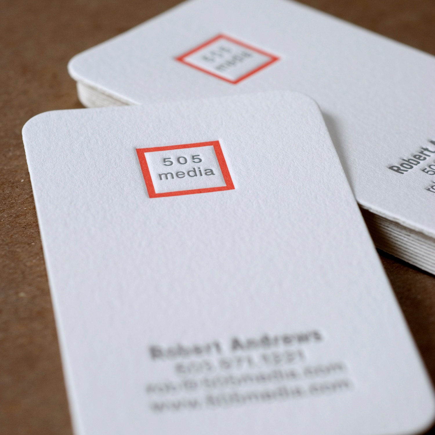 Letterpress Business Card Set Modern Square Personalized Calling