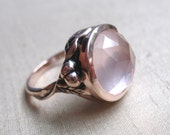 Pink-Silver and Rose Quartz Vine Ring