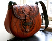 Leather Handbag-Celtic Leather Handbag-Tooled Leather Handbag-Leather Handbags Celtic Knot work-Tooled Purse Handbag-Cross Body Bag-Baggage