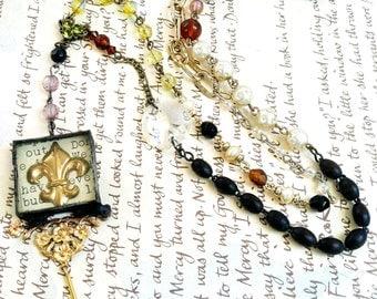 Fleur De Lis Rosary, Vintage Brass Fleur Necklace, Fleur Reliquary Necklace, Vintage Bead Chain Rosary Style Necklace