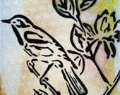 Little Bird ...Graffiti Pop Art Style Original Painting on Handmade Wood Canvas ...