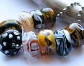 sale  Encased Autumn Safari Focals Lampwork Beads by Ellen Dooley sra