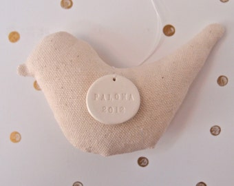 personalized dove ornament sewn in organic canvas fabric with custom porcelain tile by Paloma's Nest