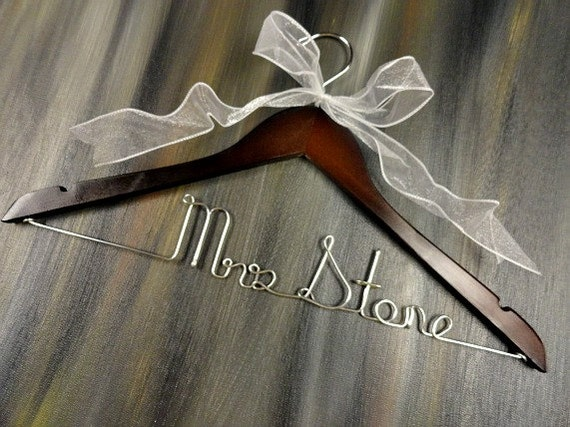 Personalized wire hangers bridal by originalbridalhanger for Personalized wire wedding dress hanger