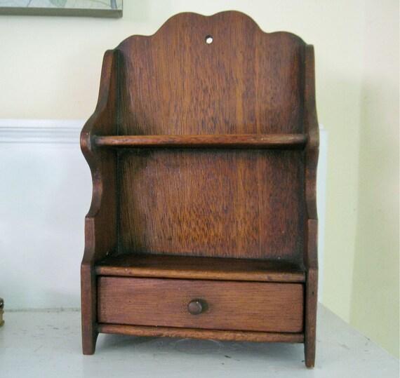 Vintage Spice Rack with Drawer - Wood Shelf