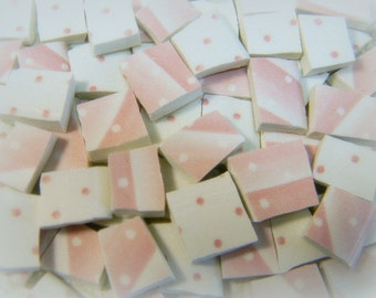 China Mosaic Tiles - PiNK DoTS and STRiPeS - 100 Shabby Cottage Chic Tiles