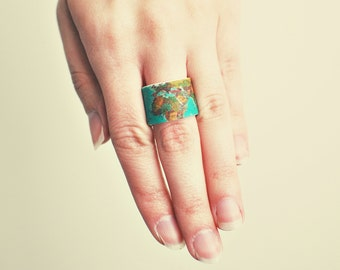 World Map Wide Wrap Ring
