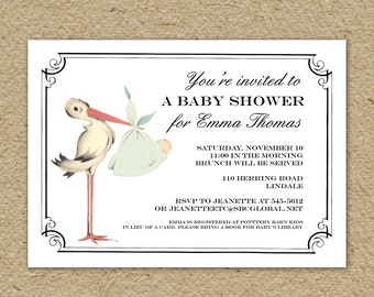 Vintage stork baby shower invitation, baby girl stork shower, baby boy stork shower, gender neutral shower, printable shower invitation