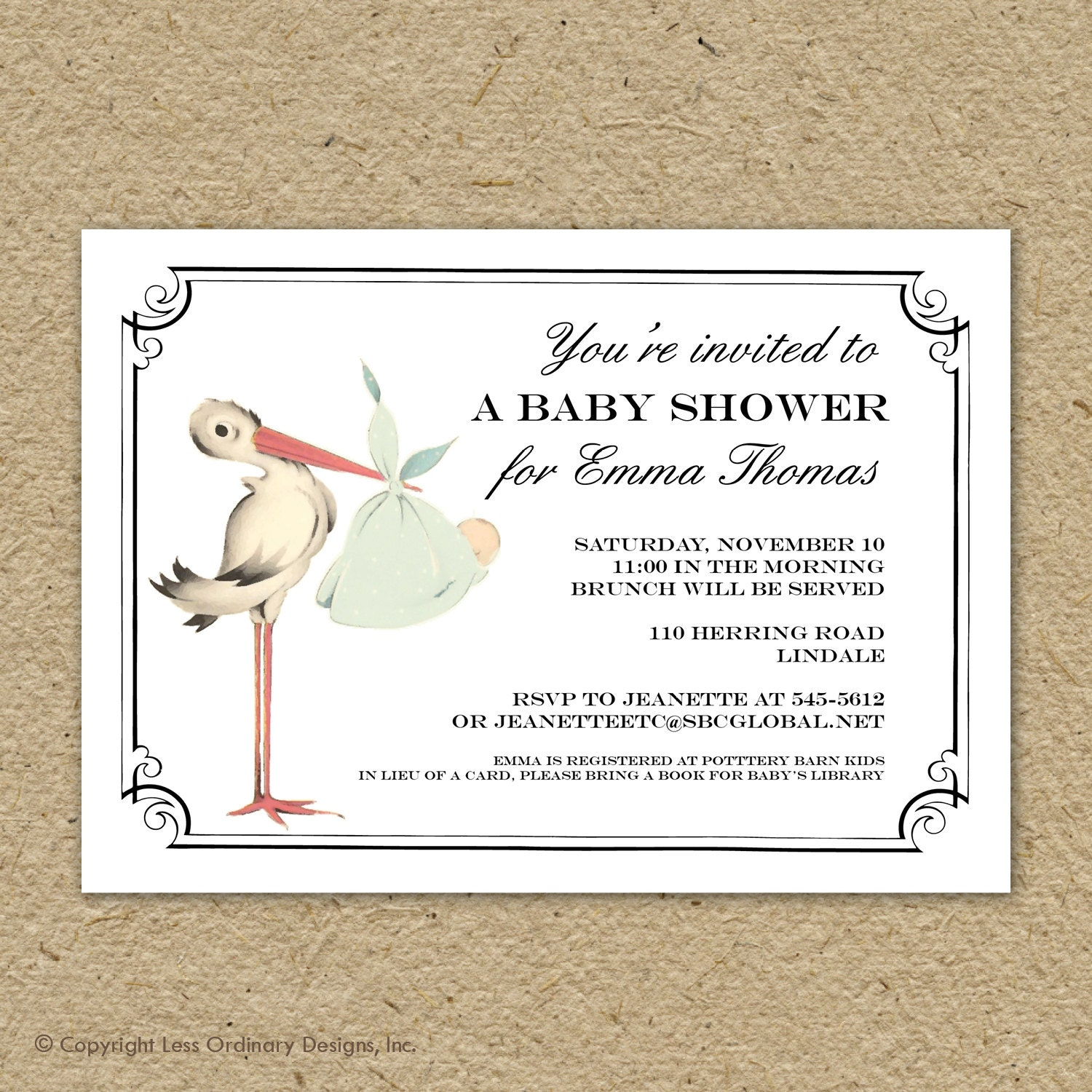 Vintage stork baby shower invitation baby girl stork shower