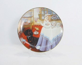 Vintage Collectible Plate, Little Shopkeepers, Kitten Plate, Dog Plate
