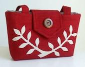 Cherry Red Wayfarer Purse - Bag with Handcut Leafed Branch Applique