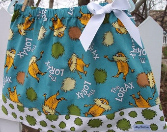 My Carrie Custom A-Line Girl's Skirt made with Dr. Suess' Lorax Fabric