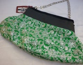 Cute little purse on Vintage Greean and Silver Recycle Lurex fabric & Eco Leather with chain straps