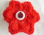 Bright Red Crochet Flower Barette Hairslide with Ladybird / Ladybug Button Centre