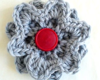 Big Chunky Grey Crochet Flower Pin or Brooch with  red  button centre