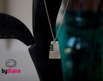 PATH / Sterling silver necklace with green aventurine stones