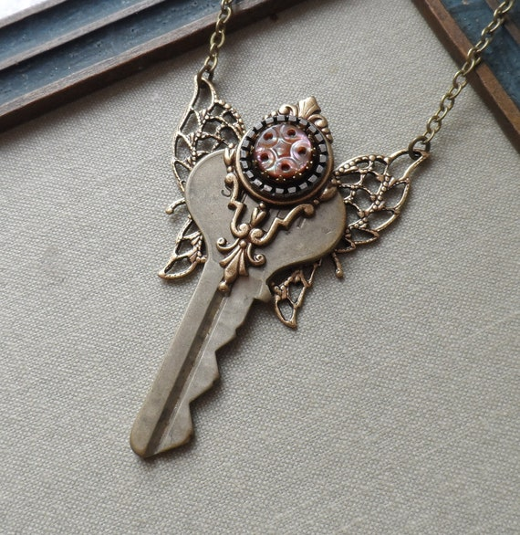 Steampunk Clearance Sale-Steampunk Fairy Key Necklace with Antique Mother of Pearl Button - Star of Venus