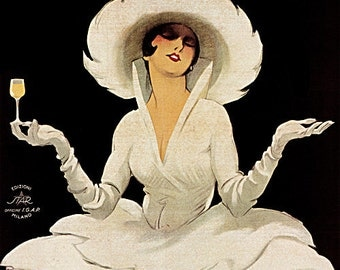Art Print on Silk Vintage Advert for Martini & Rossi Vermouth - lady in white w big hat - Fiber arts Crazy Quilting
