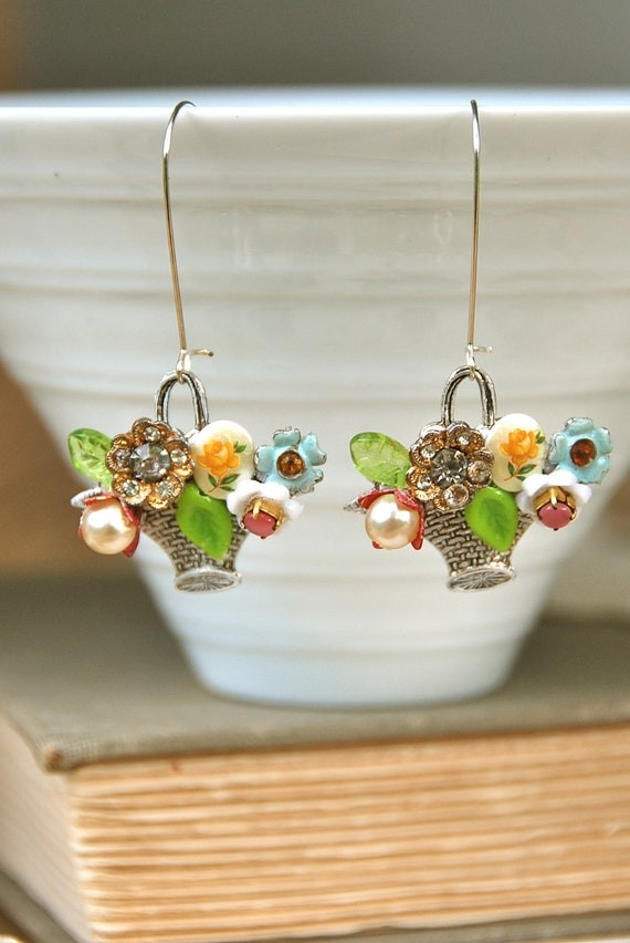 A basket of posies. floral bouquet earrings. Tiedupmemories