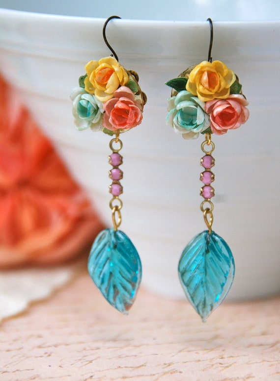 Temptation. vintage assemblage rose bouquet,pink swarovski crystal,teal glass leaf earrings. Tiedupmemories