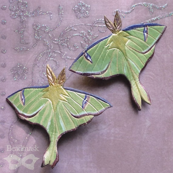 Little Luna Moth Hairclip - Handcrafted Leather Barrette