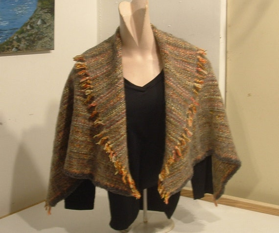 HANDMADE SALE!!!  Upcycled handwoven shawl wrap cape with mohair finish one size for women