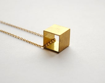 Brass Cube Necklace. Vintage Square Charm. Minimal Geometric Jewelry. Geometry and Shapes. Simple Layering Necklace. FREE Shipping in US