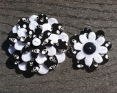 Skulls day of the Dead  Big Sister Little Sister Flower Set of 2 Fabric Felt Appliques for Hair Clips or Scrapbooking