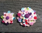 Bold Polka Dots Big Sister Little Sister Flower Set of 2 Fabric Felt Appliques for Hair Clips or Scrapbooking