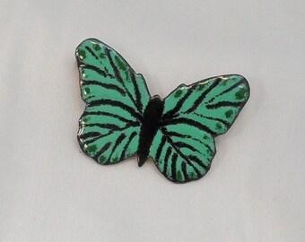 Butterfly pin Copper enameled / brooch / mint seafoam black