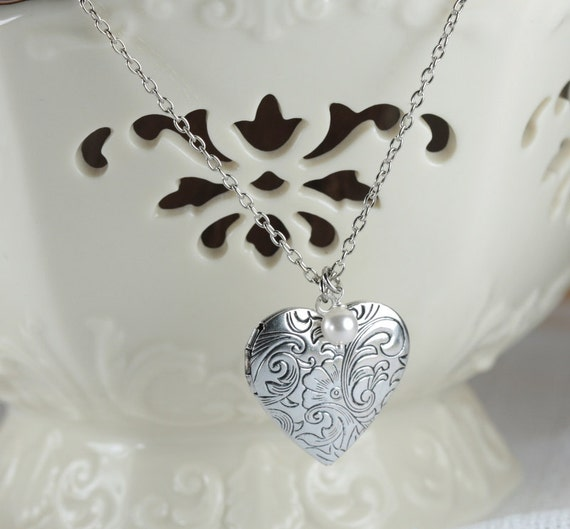 Antique Silver Heart Locket Necklace with Birthstone, Silver Locket Necklace, Silver Necklace