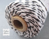 Bakers Twine - Black and White - 100 yards - cotton cording girft wraping scrapbooking