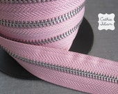Zipper by the YARD - PINK - ribbon trim 1 yard - zipper flowers, scrapbooking embellishments