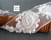 """Flower Ribbon - White - Tattered - Sheer - 3"""" Wide - Ribbon Roses"""