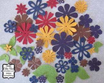 45 Felt Flowers and Leaves - scrapbooking hair embellishments - mustard, navy, purple, brown, moss green, red