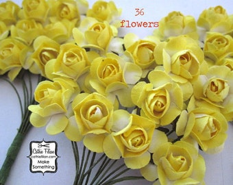 36 Yellow Paper Flowers - small bouquet - wedding, bridal, baby showers, invitation making, scrapbooking