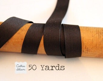 Brown Grosgrain Ribbon - 50 Yards - 5/8 inch wide - Invitation Making, Hair Bows Wedding BULK