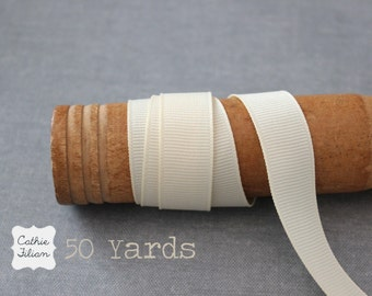 Cream Grosgrain Ribbon - 50 Yards - 5/8 inch wide - Invitation Making, Hair Bows Wedding BULK