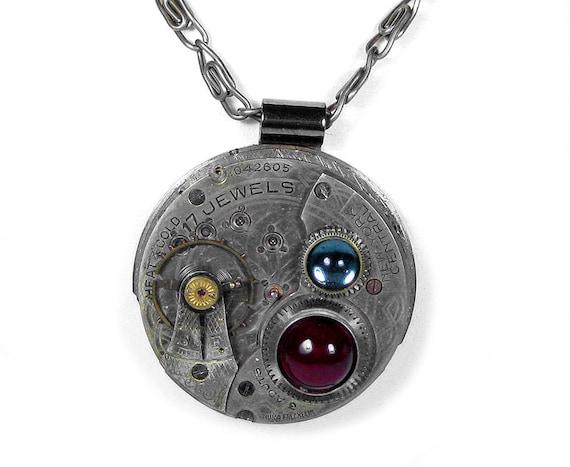 Steampunk Jewelry Necklace Vintage SOLDERED Jewel Pocket Watch Garnet Blue Cabs Wedding Gift STUNNiNG FAST SHIP  - Steampunk by edmdesigns