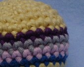 ECOFRIENDLY Baby Toy Ball--Unisex Four Stripe Mod Colors--Crochet ORGANIC Cotton
