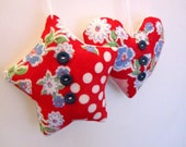 SALE Cottage Christmas Ornaments - 2 - Vintage Red Hanky Star and Heart